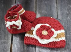 Red flower girl crochet hat and booties set on Etsy, $25.00
