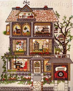 Rare Linda Gillum Open Sided House Crewel Embroidery Kit Elm Street