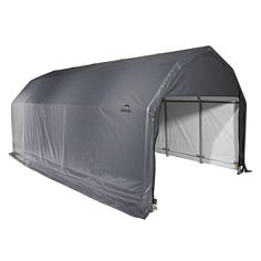 The ShelterLogic x Barn Style Shelter is easy to install and features a gambrel roof design and a powder-coat, all-steel frame. Airstream, Tent Camping, Camping Hacks, Family Camping, Camping Ideas, Garage Portable, Garage Canopies, Pony Wall, Roll Up Doors