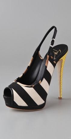 Hot Fire. Giuseppe Zanotti. Black/White Stripes, Leopard Print Piping, Topped off with Gold Snake-Embossed Heel... Hot Fire.