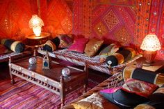 Arabian Tents has a range of marquees with beautifully hand made interiors in a number of designs which include delicate printing to vibrant velvets and all the patterns on the tent linings are hand block printed in India using traditional techniques.