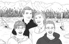 Lovely portrait of 4 people of your choice, with decor! I can make a composition with many pictures! If you are a family of 4, you can send me 4 different pictures (or more), and Ill gather you on the same drawing.    The final portrait will represent 4 people, it will be sent digitally (via email), A3 (11,7 x 16,5 inches) format. You can of course print it smaller if it seems too big.    No mailing, so, no shipping costs!    After receiving the file, I suggest you go to a professional…