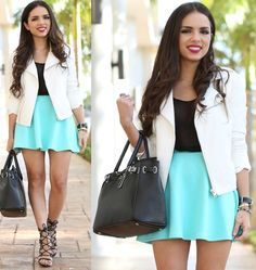 Daniela Ramirez - Furor Moda Turquoise Skirt, 2020ave Black Top, Sheinside White Pleather Jacket, Shoedazzle Lace Up Shoes, Mybag Bag - Turquoise, black, and white...