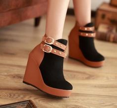 Womens Rivet Buckle Mixed Color Platform Wedge Ankle Boots Nightclub Shoes