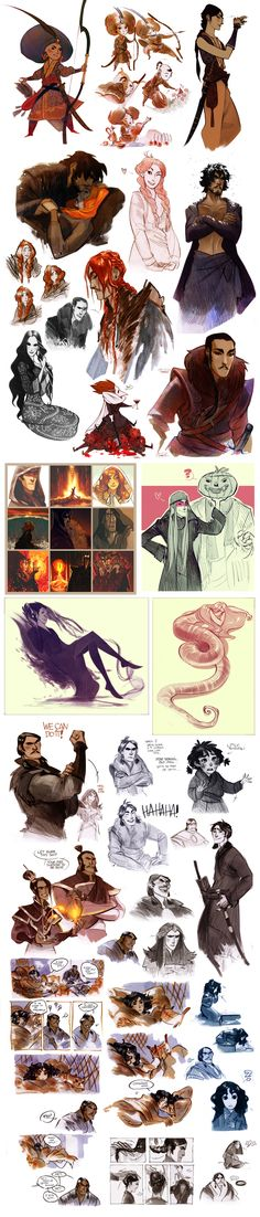 that's a sketchdump XVIII by *Phobs on deviantART -- history + ATLA + Rise of the Guardians + LOTR = DAY MADE