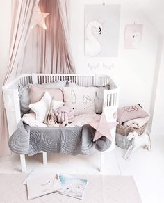 Can't even deal with this whimsical nursery of guess what CANOPIES back in stock limited # be quick! Baby Bedroom, Nursery Room, Girls Bedroom, Whimsical Nursery, Deco Kids, Nursery Neutral, Little Girl Rooms, Nursery Inspiration, Baby Decor