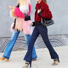 Faux fur coats + flared denim s
