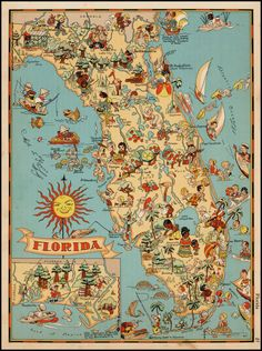 vintage florida map fabric