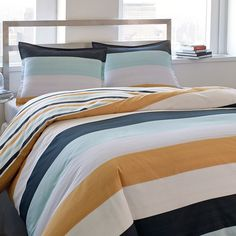 Classic #striped #CityScene #bedding from #BeddingStyle. Looks so fresh in any #bedroom! #home #design #stripes