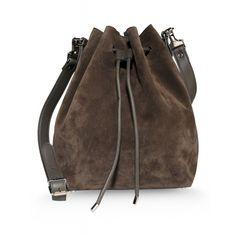 Proenza Schouler Gray Suede Medium Bucket Bag - ShopBAZAAR SALE!
