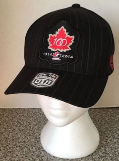 Team Canada Hockey 100 Years Black Hat Cap New Old Time Hockey FlexFit S/M Strip #OldTimeHockey