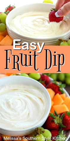 This Easy Fruit Dip is perfectly dippable with any of your favorite fruits Picnic Desserts, Dessert Dips, Healthy Dessert Recipes, Fruit Recipes, Desert Recipes, Easy Desserts, Appetizer Recipes, Sweet Desserts, Appetizers