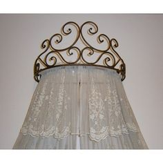 OctoRose Metal Wall Teester Bed Canopy Drapery Crown Hardware h. Bed Crown Canopy, Diy Canopy, Bed Canopies, Canopy Curtains, Crown Decor, Diy Crown, Bedroom Lighting, Bedroom Decor, Ceiling Bed