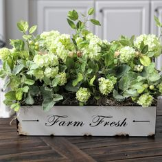Farmhouse hydrangea arrangement.  Looks freshly picked!!