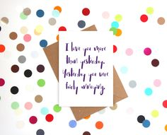 Funny Valentine's Day Card, Funny Anniversary Card, Funny  Card, Funny love card, Funny card: Love you more than yesterday - pinned by pin4etsy.com