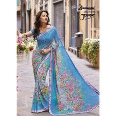 Buy Latest Saree Designs from Your Trusted Sari Store Yellow fashion. Laxmipati Sarees, Party Sarees, Indian Sarees, Saris, Floral Print Sarees, Printed Sarees, Sky Blue Saree, Indian Clothes Online, Casual Saree