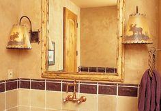 Rustic bathroom sconces with a moose motif   Hammerton