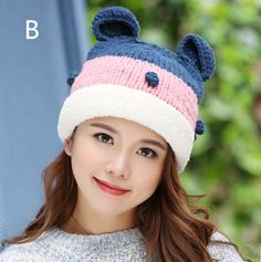 Cartoon cat ear knit hat for girls winter fleece beanie hats