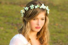 wedding accessories, bridal flower crown, wedding headpiece, headband, head wreath in seafoam, hair accessories, bridal, flower girl. $35.00, via Etsy.
