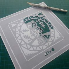 Shy Owl Papercut TEMPLATE by FolkArtPapercuts on Etsy