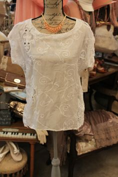 White cut out embroidery floral top $88