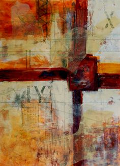 """Michele Hoben. """"Rusted Axis"""", mixed media (22"""" x 30"""").  more on: michelehoben.com"""