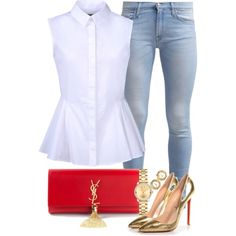 Untitled #233 by stylesbyems on Polyvore featuring polyvore, fashion, style, McQ by Alexander McQueen, 7 For All Mankind, Christian Louboutin, Yves Saint Laurent, Movado, Chanel and clothing