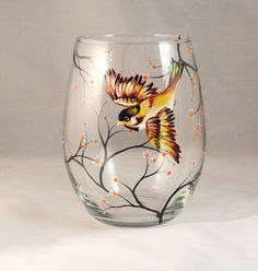 Hand painted Bird on wine glass