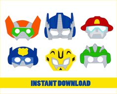 "Transformers Party Photo Booth Props - INSTANT DOWNLOAD Printable Party Masks ______ Contains 6 masks of Transformers - 1 mask for Letter page (6 pages) ______ ** THIS IS DIGITAL ITEM - NO PHYSICAL PRODUCT IS SHIPPED ** Formatted to fit US Letter Sized Paper (8.5"" x 11"") You will need: - cardstock - scissors and exacto knife - Whole puncher for bunting masks - string for the party mask NOTE: Please note that colors are not exact. All monitors and printers vary from each other and may pr..."
