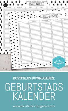 Immerwährender Geburstagskalender zum Ausdrucken, in A3 und A4, coole schwarz-weisse Muster. www.die-kleine-designerei.com Mehr