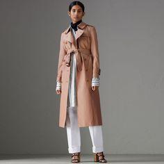 Tropical Gabardine Trench Coat in Pink Apricot - Women | Burberry Australia