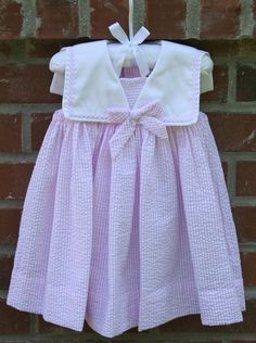 Preview for tonights sale! Pink seersucker girls sailor outfit. Matching brothers outfit as well!