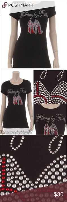 Best Selling Rhinestone Tee Restocked. Walking by Faith Rhinestone Tee with Red Bottom Heels. Short Sleeve Crew Neck. Top quality Tee.   Runs a tad bit small. Recommend ordering a size up. In stock and ready to ship.   95% Cotton  5% Spandex.                                                  🛍Bundle and save 15% 💅🏽Top Seller 5 Star Rating ❤️Smoke Free Home ❌NO TRADES 💥 Price Firm - New or Sale item LA HOT  Tops Tees - Short Sleeve