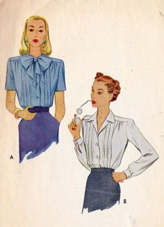 1940s Misses Blouse Office Fashion Hollywood