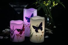 Pudoo Flameless Butterfly &Flowers LED Pillar Candle with Remote Controller Timer Function for Wedding Marriage Birthday Party Flameless Candles, Pillar Candles, Butterfly Flowers, Remote, Candle Holders, Image Link, Marriage, Birthday Parties, Led