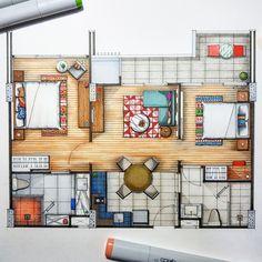 📐✍🖌 A room near the valley. Architecture Symbols, Maquette Architecture, Interior Architecture Drawing, Interior Design Renderings, Interior Sketch, Architecture Design, Classical Architecture, Casa Feng Shui, Mansion Designs