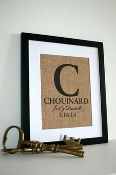 Personalized Wedding Gift, Burlap Wall Decor, Family Name Sign with Monogram & Established Date