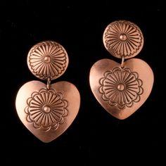 Copper Heart Concho Earrings by Rocki Gorman