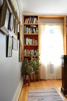 Lauren and Chad's Vintage Comfort built in book shelf around a window