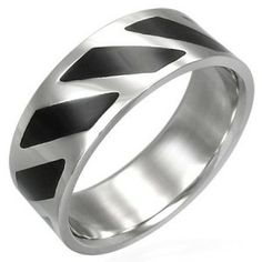 Men's Black & Silver Finish Stainless Steel Modern Ring 8mm men's jewellery #mensfashion #mensjewellery