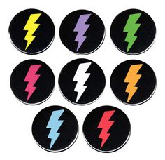 Lightning Bolt Pinback Button Badge 8 Colors Punk Rock Emo Goth Kitsch Boarder