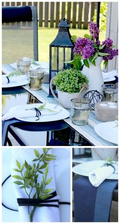 Summer Tablescape - the perfect place settings for outdoor entertaining! Love the leather napkin wraps! #alfrescoatlast
