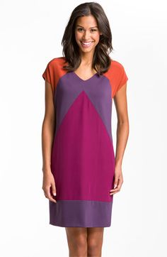 Suzi Chin for Maggy Boutique Chevron Colorblock Mixed Media Shift Dress (Online Exclusive) | Nordstrom    Great colors - would be excellent with a skinny belt to create proportion.