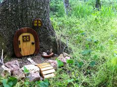 An Enchanted Cache is located in Northwest Arkansas. The house kit was bought on Etsy and the cache is hidden in a Playdough container amongst the rocks. To take it one step further, you could find a hollow tree and a hinged door and really pull it all together.