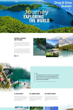 Demo for Journeo - Travel Agency Moto CMS 3 Template Design Sites, Web Design Software, Web Design Tips, Design Lab, Flat Design, Diy Design, Travel Agency Website, Travel Website Design, Travel Brochure Design