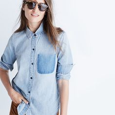 A shrunken take on our signature tomboy button-down in forever-perfect denim…