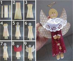 Bastelideen Eisstiel Weihnachtsengel Papier basteln