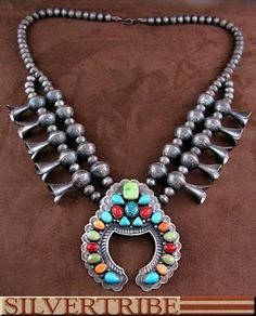 Native American Navajo Multicolor Sterling Silver Old Pawn Vintage Style Squash Blossom Necklace NS55479