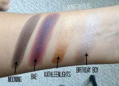 #ColourPop eye shadows in Mooning, BAE, Kathleen Lights, and Birthday Boy! #bae #kathleenlights #beauty