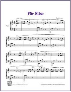Für Elise (Beethoven)   Free Sheet Music for Easy Piano - http://makingmusicfun.net/htm/f_printit_free_printable_sheet_music/fur-elise.htm